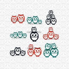 Owl Families Mom Dad up to 3 children sets SVG STUDIO Ai EPS Scalable Vector Instant Download Commercial Use Cutting File Cricut Silhouette by CraftyLittleNodes on Etsy https://www.etsy.com/listing/256998776/owl-families-mom-dad-up-to-3-children