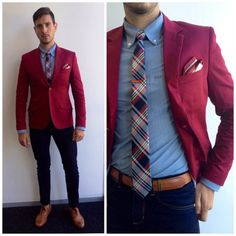 Markham Burgundy Blazer Wrangler Skinny Jeans Zara Tan Brogues Paul Smith Tan Belt Mango Plaid Tie Markham Whte And Burgundy Pocket Square Gentleman Mode, Gentleman Style, Burgandy Blazer, Maroon Blazer, Maroon Pants, Blazer Outfits Men, Men's Outfits, Beckham, Outfits