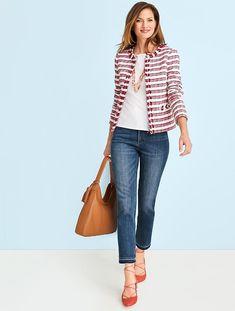 Fringed-Edge Tweed Jacket-Stripes - Talbots Source by prissypetunia outfits Work Fashion, Fashion Outfits, Fashion Over 40, Japan Fashion, India Fashion, Street Fashion, Fashion Ideas, Look Blazer, Boucle Jacket