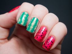 Easy Watermelon Nail Art