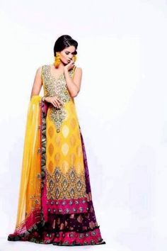 MEHNDI WEAR EMBROIDERED DRESSES FOR BRIDES. #mehndidresses, #pakistanibridal, #pakistanidresses, #mehandidresses, #mehndidresses2014