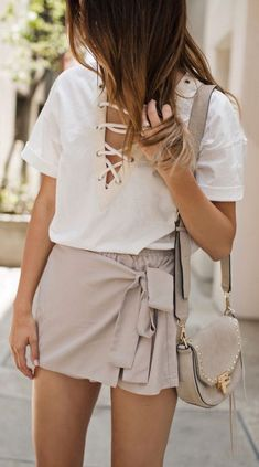 #summer #outfits / strappy shirt + nude