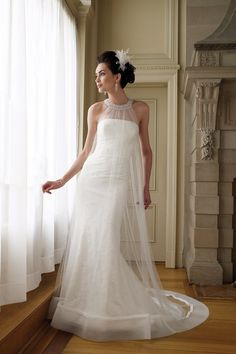Formal Shabby Chic Ivory White $$ - $701 to $1500 Beading David Tutera for Mon Cheri Empire Floor High Neck Lace Organza Sheath Sleeveless Square Strapless Tulle Wedding Dresses Photos & Pictures - WeddingWire.com