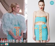 Chanel's turquoise crop top and skirt with orange trim on Scream Queens - Patty Re - Gute Pin Scream Queens Costume, Scream Queens Fashion, Queen Outfit, Queen Dress, Fashion Tv, Fashion Outfits, Womens Fashion, Tv Show Outfits, Crop Tops