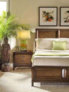 Luscious Lime    With the rustic surroundings of the bedroom, the green lamp helps bring out the colors of the bedding as well as the natural decorative tree