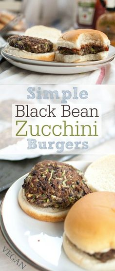 Simple Black Bean Zucchini Burgers   Produce On Parade - Easy, soft, black bean and zucchini burgers mixed up with ground flaxseed that whip up in a flash!