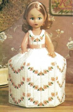 Digital Pattern  Victorian Doll Toilet Paper Cover 7 ct Plastic Canvas