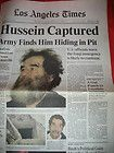Los Angeles Times LA Newspaper Saddam Hussein Captured December 15 2003 Iraq - 2003, ANGELES, Captured, DECEMBER, Hussein, IRAQ, Newspaper, Saddam, times
