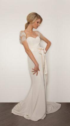 db350226453c9 2014 Fall Wedding Dress Trends Design  Sarah Janks 2014 Sleek Silk Wedding  Dress With Embellished Sleeves Trends ~ JeuneetConne Wedding Inspiration