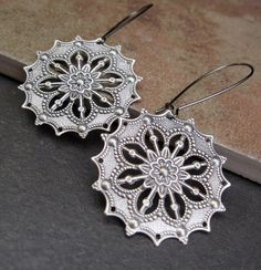Silver Gypsy earrings / Bohemian Jewelry by Gypsymoondesigns, $10.00