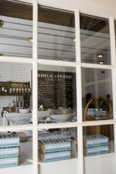 Amelie and Friends, subway tile, graphic chalkboard, restaurant graphics, cafe window