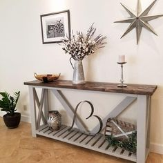 This is a very beautiful farmhouse style couch console table that can also function as a table for stools. *Based on the size ordered, this item may need to be shipped to a freight shipment terminal close to your home for pick up. Diy Entryway Table, Farmhouse Entryway Table, Rustic Console Tables, Rustic Entryway, Farmhouse Decor, Farmhouse Style, Rustic Entry Table, Hallway Table Decor, Gray Console Table
