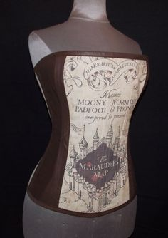 Custom Size Steampunk Maraurder's Map Steel Boned Corset by LoriAnn Costume Designs