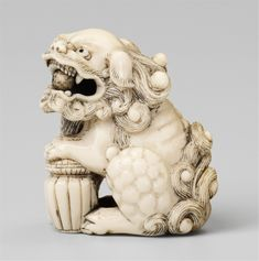An unusual ivory netsuke of a shishi. Early 19th century, Auktion 1061 Asiatische Kunst, Lot 672