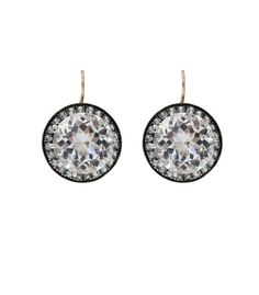 Andrea Fohrman Rock Crystal & Sapphire Earrings