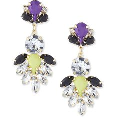 Kenneth Jay Lane Mixed-Stone Drop Earrings ($71) ❤ liked on Polyvore featuring jewelry, earrings, multi colors, multi colored earrings, multicolor jewelry, tri color jewelry, post drop earrings and stone drop earrings