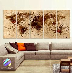 """Original by BoxColors Xlarge 30""""x 70"""" 5 Panels 30x14 Ea Art Canvas Print World Map Original Design Watercolor Brown Sepia Beige Old Paper Wall Home Decor Interior (Framed 1.5"""" Depth). Sold by BoxColors From USA - You will receive the Original Image - Sending from the United States - Made in the United States SIZE: 30"""" x 70"""" x 1.5"""" depth (30""""x 14""""x 1.5"""" depth each panel) Type: Giclee artwork, print on the artist cotton Canvas. UV-protective coating.100% cotton. Weight 360gsm Materials..."""