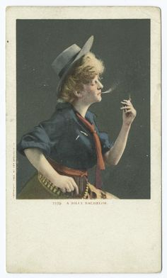 Divided Back Postcard Woman Wearing Man's Hat and Bullet Belt Smoking a Cigarette Cowboy Western Old Photos, Vintage Photos, Michael Doyle, Vintage Cowgirl, Dangerous Woman, Woman Drawing, Blazer Fashion, Photo Postcards, Red And Blue