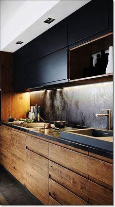 Cozinha Preta: +148 Ambientes e Dicas de Decoração para 2020 Black Kitchen Cabinets, Wooden Cabinets, Black Kitchens, Cool Kitchens, White Cabinets, Small Kitchens, Modern Kitchens, Concept Kitchens, Kitchen Black