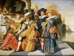 Dirck Hals (Dutch Baroque Era painter, 1591-1656) Music on the Garden Terrace