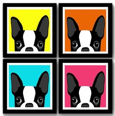 Kit 4 Quadros Bulldog Frances Pop Art                                                                                                                                                     Mais