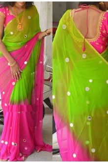 Buy Online Pink With Parrot Green Color Designer Heavy Embroidery Saree - Sarees Half Saree Designs, Fancy Blouse Designs, Bridal Blouse Designs, Saree Blouse Designs, Parrot Green Saree, Saree Designs Party Wear, Mirror Work Saree, Blue Silk Saree, Designer Sarees Wedding