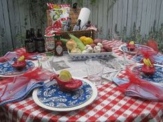 Party Ideas by Mardi Gras Outlet: Crawfish Boil Tablescape look at the blue paisley plate