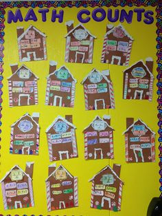 Gingerbread House Bulletin Board- I'd use this for word families or fact families Gingerbread Man Activities, Christmas Activities, Math Activities, Gingerbread Houses, Winter Activities, Educational Activities, Christmas Bulletin Boards, Math Bulletin Boards, Math Classroom