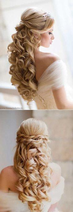 25 Elegant Half Updo Wedding Hairstyles: #9.