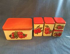 5Pc Fruit Metal Tin Canister Bread Box Set by LadyVintage81