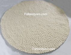 Felt ball rug in stunning natural white colors-free by feltnyarn