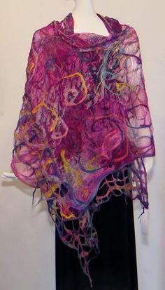 Perla Kopeloff - Nuno Felted Vintage Sari Color Feel, Nuno Felting, Hand Stitching, Fiber Art, Scarves, Sari, Textiles, Inspiration, Collection