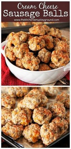 finger foods Cream Cheese Sausage Balls ~ Make everybody's party-favorite Sausage Balls extra tender and extra delicious by adding in a touch of cream cheese! Sausage Cheese Balls, Hot Sausage, Sausage Meatballs, Recipe For Sausage Balls Using Cream Cheese, Sausage Cream Cheese Dip, Baked Sausage, Sausage Breakfast, Breakfast Recipes, Breakfast Casserole