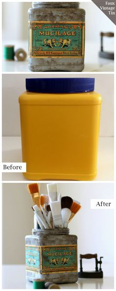 homework: creative inspiration for home and life: UPCYCLING: How to make a faux vintage tin