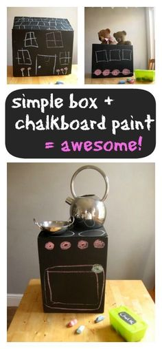 """Chalkboard paint + a box= Easy way for students to leave notes, for, say """"Things. - - Chalkboard paint + a box= Easy way for students to leave notes, for, say """"Things that make me happy"""" or """"Favorite books"""" or anything really! Craft Activities For Kids, Toddler Activities, Projects For Kids, Diy For Kids, Crafts For Kids, Back To School Special, Cardboard Box Crafts, Do It Yourself Jewelry, Chalkboard Paint"""