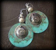 Verdigris Hoops Kuchi Banjara Buttons Vintage by YuccaBloom