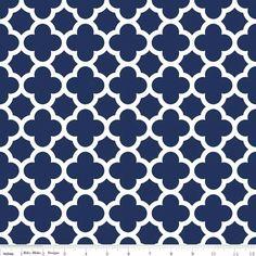 Stoff Ornamente - Navy Blue Quatrefoil From Riley Blake - ein Designerstück von DinoFabric bei DaWanda