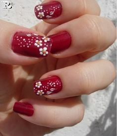 Girls want to have a cute nail designs to look natural and attractive, the trend of fashion changes everyday and having a variety of modern nails manicures that are easy to paint and will also look beautiful makes cute nail art more demanding among women. Red Nail Art, Cute Nail Art, Beautiful Nail Art, Easy Nail Art, Gorgeous Nails, Red Nails, Cute Nails, Pretty Nails, Flower Nail Designs