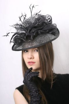 Gorgeous Black and silver lace derby fascinator great for Melbourne cup by Irina Sardareva Couture Millinery