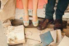 Love the juxtaposition of her pastel shoes against the ruined hymnals. #abandoned #ruins #church  Photo by Photography by Betty Elaine