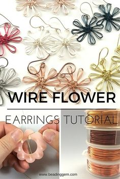 How to Make Wire Flower Earrings Using a Mini Flower Loom ~ The Beading Gem's…