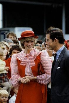 March 30, 1983:  Prince Charles & Princess Diana on a walkabout in Hobart, Tasmania.