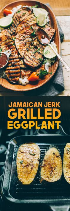 Jamaican Jerk Spiced Grilled Eggplant!! Ingredients: cinnamon, coriander, all spice, cayenne, sea salt & pepper, thyme, garlic, ginger, lime juice, tamari, coconut sugar, oil, eggplants
