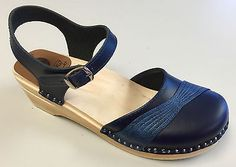Troentorp Bastad Swedish Wooden Clogs Penny Navy Blue Size 40