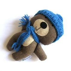 Teddy bear stuffed animal with a little knitted scarf and hat by Zita on Etsy.
