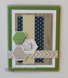 Greeting Card Hexagon Thanks So Much  Handmade by Rubberredneck, $5.95