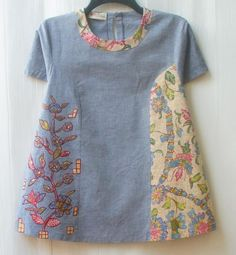 32 Trendy ideas for sewing clothes recycling fabrics Blouse Batik, Batik Dress, Blouse Dress, Batik Fashion, Shirt Bluse, Tunic Pattern, Sewing Clothes, Sewing Dolls, Pulls
