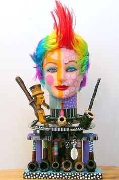 What The Hell Was She Smoking recycled found object sculpture I AM PUBLISHED. $850.00, via Etsy.