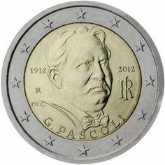 2 euro commémorative 2012 italie - Commémoration du 100ème anniversaire de la mort de Giovanni Pascoli : tirage 15 000 000 ex
