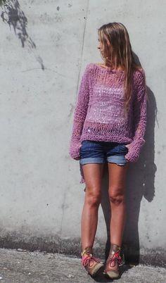 Rosa de punto suelta rosa grunge ligero suéter